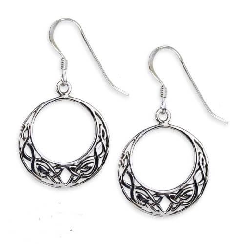 Zilveren oorbellen Keltische knoop