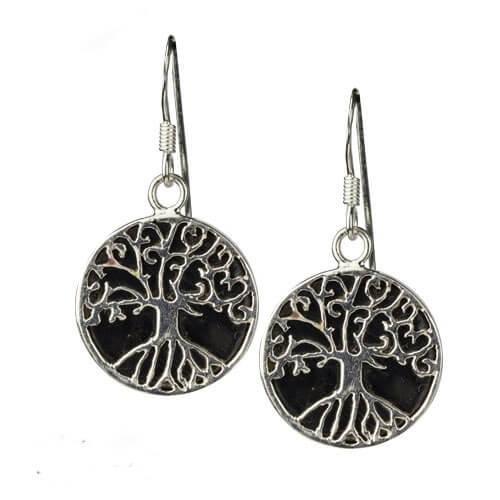 Zilveren tree of life oorbellen met Onyx