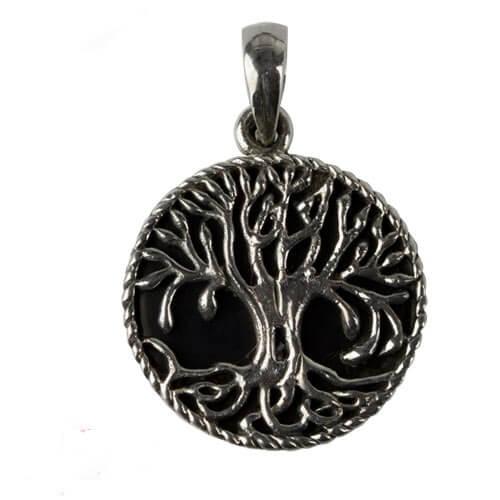 zilveren hanger Tree of life met Onyx